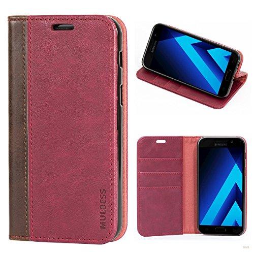 Mulbess (Book Style) Premium Handy Schutzhülle Ledertasche im Kartenfach für Samsung Galaxy A3 (2017) Tasche Hülle Leder Etui Schale,Weinrot