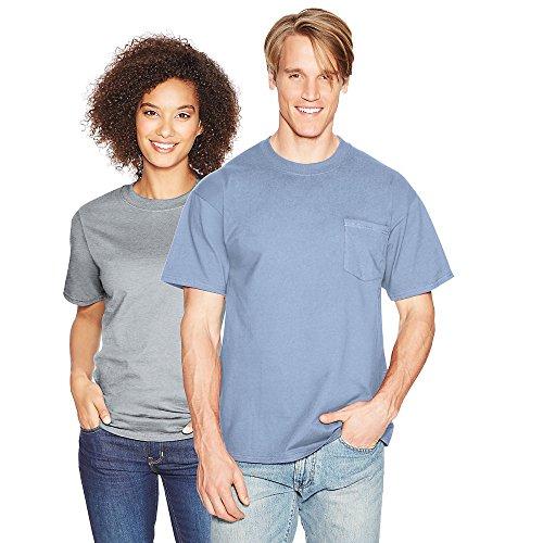 Hanes Adult High Stitch Ring Spun Preshrunk Pocket T-Shirt Light Blue