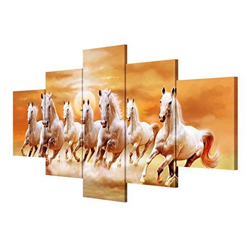 GY&H Wandmalerei 5 PCS Handgemalte Pferde Bild rahmenlos Drucke auf leinwand, die bilder öl für...