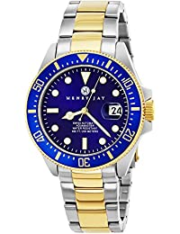 "Henry Jay Mens ""Limited Edition"" Swiss Self Winding Mechanical Automatic 23K Gold Plated Two Tone Stainless Steel ""Specialty Aquamaster"" Professional Swiss Dive Watch With Sapphire Crystal"