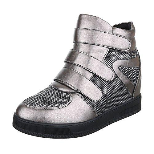 Ital-Design Keilstiefeletten Damen-Schuhe Plateau Keilabsatz/Wedge Klettverschluss Klettverschluss Stiefeletten Silber Grau, Gr 39, 7776-