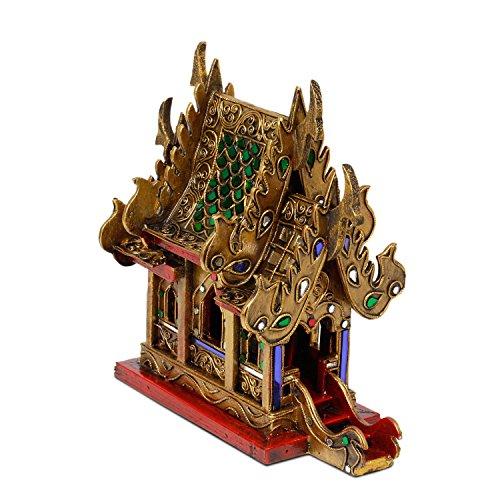 Oriental Galerie Geisterhaus Schrein der Erdgeister SanPhra Phum Geisterhäuschen Naturgeister Thailand ca. 25 cm Gold Rot mit Grünen Spiegelsteinen Holz
