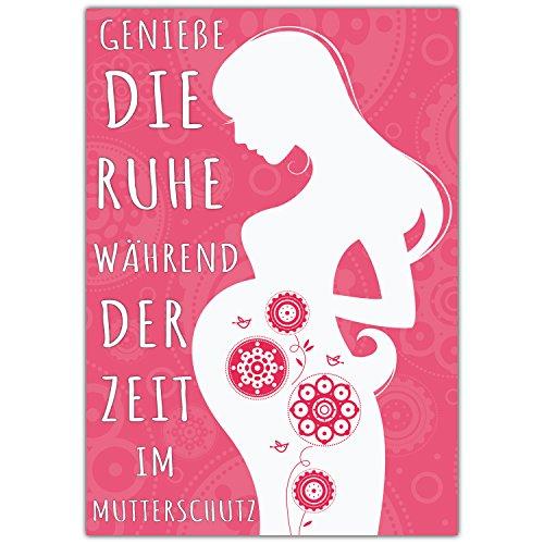 e MUTTERSCHUTZ mit Umschlag - Klappkarte für Kollegin Mitarbeiterin Chefin zur Mutterschaft Babypause Elternzeit von BREITENWERK ()