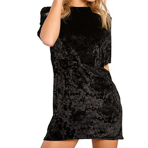 Bawar Damen Samtkleider Mini Cocktailkleid Kurzarm Abendkleid A-Linie T-Shirt Partykleid