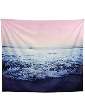 Arfbear mar tapiz, tapices de pared mar azul y rojo impreso de acuarela naturaleza manteles de gran pared tapiz...