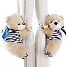 Happy cherry - (Set de 2) Abrazaderas Hebillas Tieback de cortinas con Cuerdas para Habitaciones Cuarto de bebés niños - Azul