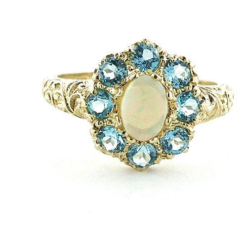 Damenring in Gelbgold 375/000 mit Opal und Blauer Topas - 58 (Opal Und Blauer Topas)