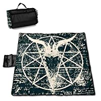 """MZZhuBao Goat Skull Pentagram Sigil Extra Large Picnic Blanket 57"""""""" x59 Outdoor Waterproof Sandless Blanket Mat with Tote Bag for Or Travel"""