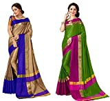 Art Décor Sarees Women's Pack of 2 Sarees Cotton Silk Saree With Blouse (Pack of Two Sari) - More Then 50 Colors
