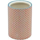 Pot à ustensiles de cuisine orné de motifs - en porcelaine - imprimé orange