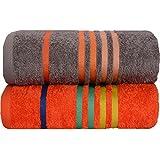 Casa Copenhagen exótico algodón tamaño mediano (120cm por 60cm) 475g/m², 2unidades Juego de toallas de baño, color gris