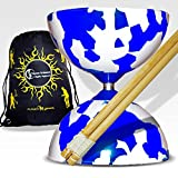 Jester Diabolos + Wooden Diabolo Sticks, Diablo String & Travel Bag! (Blue/White)