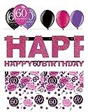 Feste Feiern Geburtstagsdeko Zum 60. Geburtstag | 8 Teile All-In-One Set Luftballon Girlande Konfetti Pink Schwarz Violett Party Deko Happy Birthday