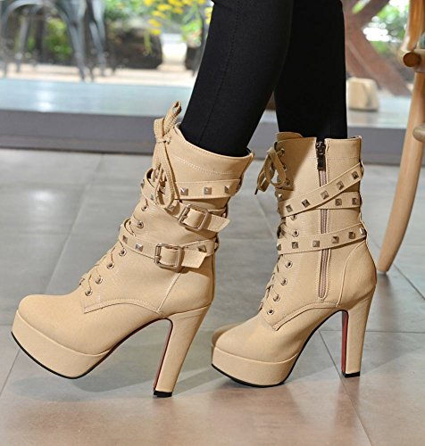Mee Shoes Damen runde Plateau high heels mit Nieten Stiefel Aprikose