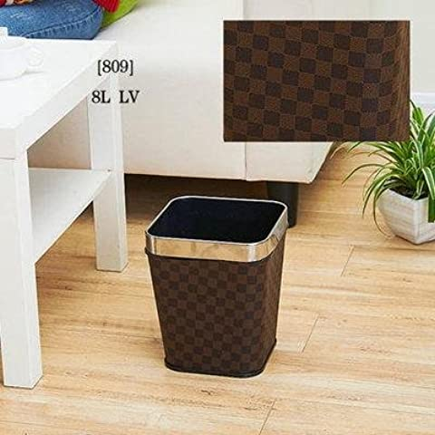 Cuadrados de acero inoxidable basura de cuero de estilo europeo de lujo basura moda puede cubo sanitario de barril de almacenamiento , 12l-lv