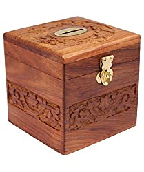 A K Handicrafts Wooden Money Bank Cube Kids Piggy Coin Box Gifts