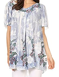Sakkas Kyla Relaxed Fit Floral Sequin Embroidered V-Neck Cap Sleeve Blouse/Top