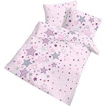 """Fein Biber Baby Bettwäsche """" STARS """" Sterne & Sternchen - rosa lila grau - 2 tlg. Größe 40x60 + 100 x 135 cm - 100 % Baumwolle - hergestellt in Deutschland"""