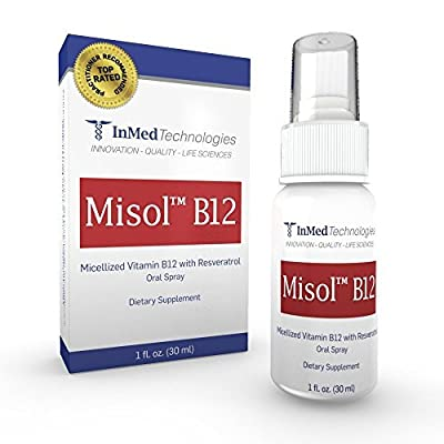Best Vitamin B12 (Methylcobalamin) Oral Spray. Much better absorption that Sublingual Liquid B12, This is MICELLISATION and in your blood stream in MINUTES! - MISOL (TM) B12 - TOTALLY UNIQUE - 90 Day + Supply. iSimply spray your daily Vitamin B12 requirem