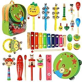 Strumenti musicali per bambini – 22 in 1 giocattolo per bambini, set di percussioni per bambini e bambine Regali di compleanno con borsa per trasporto con cerniera