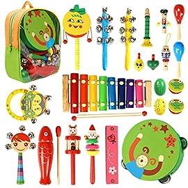 CRZKO Strumenti Musicali per Bambini 15 in 1 Giocattolo per Bambini Set di percussioni per Bambini e Bambine Regali di Compleanno con Borsa per Trasporto con Cerniera