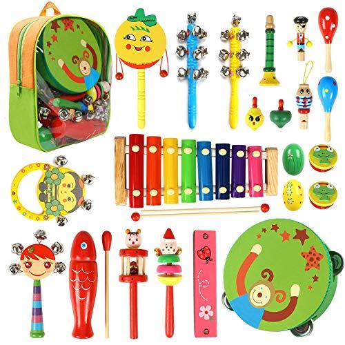 CRZKO Instrumentos Musicales para niños 22 en 1 Juguete para niños Mini Banda Percusión de Madera, Juego de percusión para niños y niñas Regalos de cumpleaños con Bolsa con Cremallera
