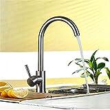 Willsego Wasserhahn Gebürsteter Edelstahl-Hahn-heißer und kalter Küchen-Wasserhahn gestörtes Wasser (Farbe : -, Größe : -)