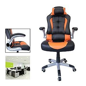 51JZHOQLmCL. SS300  - HG-silla-giratoria-de-oficina-silla-de-juego-confort-premium-reposabrazos-acolchados-silla-de-carrera-capacidad-de-carga-200-kg-altura-ajustable-negro-naranja