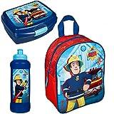 Familando Rucksack Set Feuerwehrmann Sam 3tlg. mit Brotdose und Trinkflasche z.B. für den Kindergarten / Krippe FSTU7630