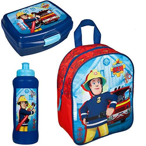 feuerwehrmann sam brotdose Familando Rucksack Set Feuerwehrmann Sam 3tlg. mit Brotdose und Trinkflasche z.B. für den Kindergarten / Krippe FSTU7630