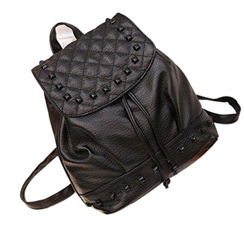 Jamicy Donne ragazze moda rivettare in pelle Borsa Zaino borsone borse borsa zaino Nero
