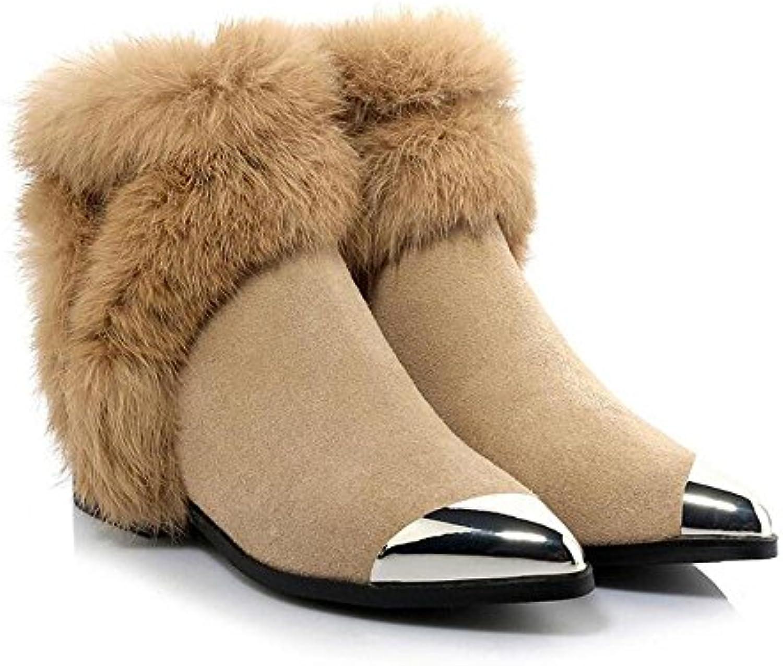 NSXZ Stivali di peluche della punta del cono del metallo di cuoio genuino di modo delle donne , camel , 38 | Cheapest  | Scolaro/Ragazze Scarpa