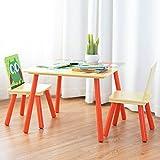 COSTWAY 3 tlg. Kindersitzgruppe Kinderstühle und Tisch Maltisch Sitzgruppe Kindermöbel Kinderstuhl Holz