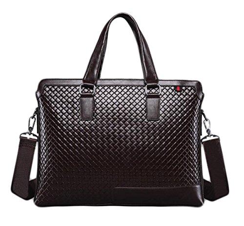 Herren Leder Business-Paket Aktentasche Handtasche Schulter Messenger Tasche Gewebt Computer Freizeit-Paket,Brown3-OneSize -