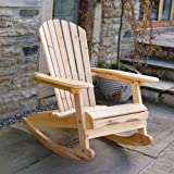 Adirondack Garden Rocking Armchair in Natural Solid Wood | Comfortable Curved Back | Perfect for Indoor or Outdoor Use!