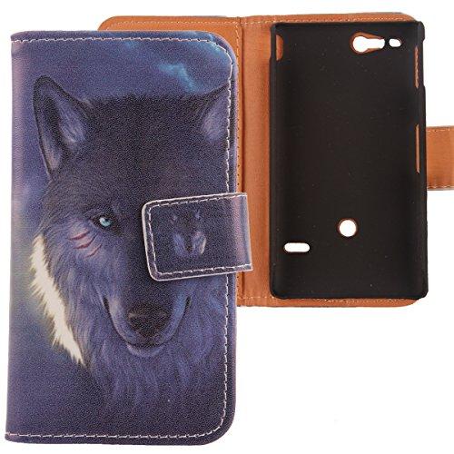 Lankashi PU Flip Leder Tasche Hülle Case Cover Schutz Handy Etui Skin Für Sony Xperia Go St27i Wolf Design