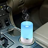 Allin Exporters USB based Essential Oil Diffuser Humidifier For Cars / Suv's and Small Area -50ml Portable Mini Humidifier - Ultrasonic Cool Mist Aroma Diffuser - Color LED Lights Changing And Timer Settings - Auto Shut Off Portable Diffuser for Car / Office / Bedroom / Classroom /Computer Room