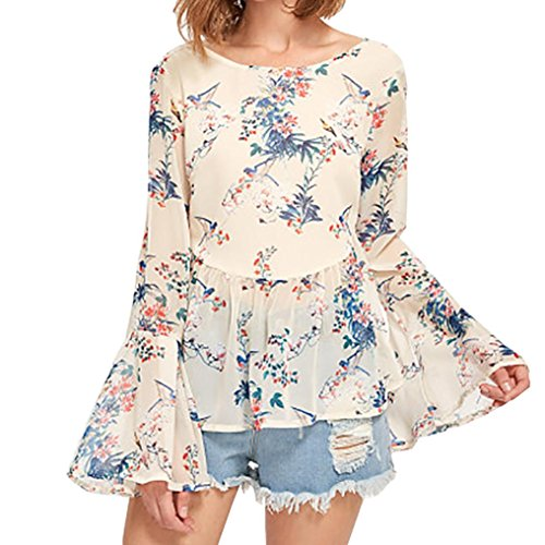 VENMO Frauen Langarm Bluse Damen Mode Flare Hülse lose Blumenmuster Shirt Casual Bluse Tops T-Shirt Frauen Crisscross zurück Trompete Ärmel Semi Sheer Botanical Tops (XL, Yellow) (V-ausschnitt Sheer Semi Ärmellos)