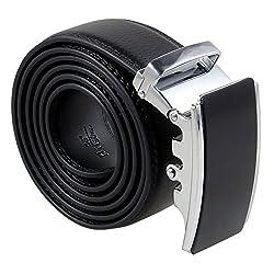 Men's Soft Leather Belt,Business Sliding Buckle Ratchet Automatic Waist Belt