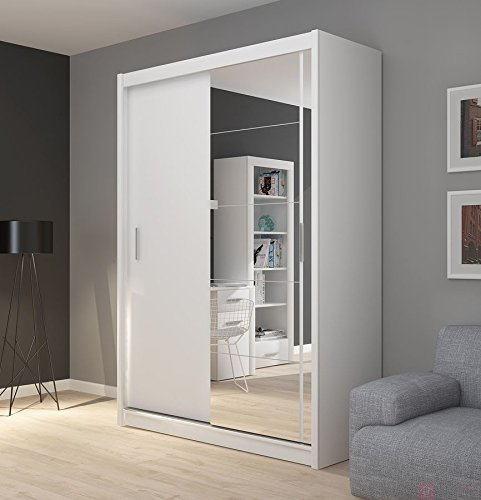 Fado White Mirrored 2 Door Wardrobe Closet With Sliding Doors Mirror