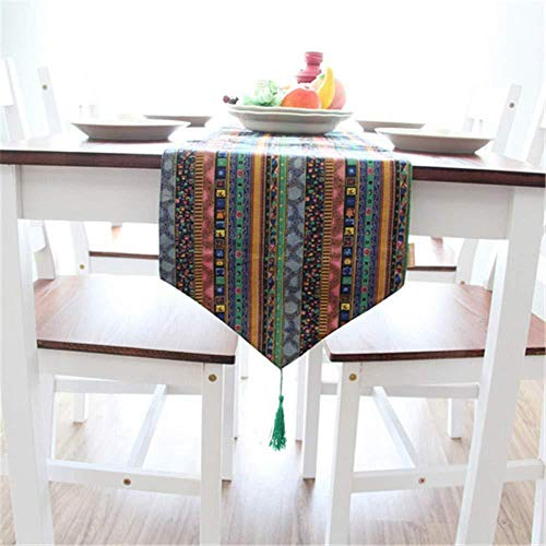 Dust-proof tablecloth Outdoor Tablecloths Tablecloths Home fabric hot stamping table flag Southeast Asian national wind cotton and linen tea 30 * 200cm sapphire blue-30 * 220cm_Sapphire_blue