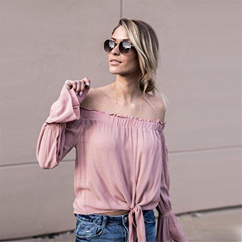 CYBERRY.M Chemise Été Femme Casual Manches Longues Bateau Épaule Nue T-shirt Blouse Top Rose