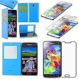 ebestStar - Cover Compatibile con Samsung S5 G900F, Galaxy S5 New G903F Neo Custodia Portafoglio Protezione Libro Flip Finestra View, Blu + Vetro Temperato [Apparecchio: 142 x72.5 x8.1mm 5.1'']