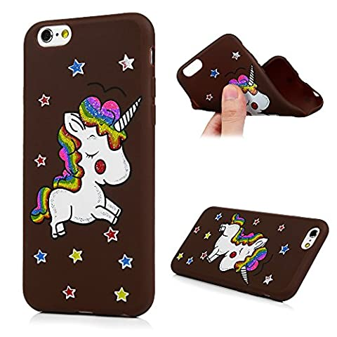 iPhone 6 Plus 6S Plus Case, Kasos Unicorn Bling Soft Silicone Gel Case with Cute Stickers TPU Back Cover Case [Ultra Slim Fit] Lightweight Anti-Scratch Shockproof Protective Case for iPhone 6 Plus / iPhone 6S Plus (5.5 inch) Coffee