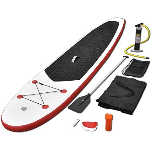 Vidaxl Stand Up Paddle Board Set Sup Surfboard Inflatable Red And White Picture