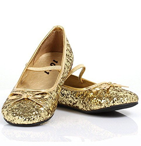 Girls Gold Glitter Ballet Flats Small by Ellie Shoes -