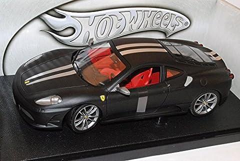 Ferrari F430 Coupe Matt Schwarz Silber Streifen 1/18 Mattel Hot Wheels Modell Auto mit individiuellem (Schwarz 18 Wheels)