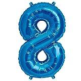 ballonfritz Ballon Zahl 8 in Blau - XXL 40