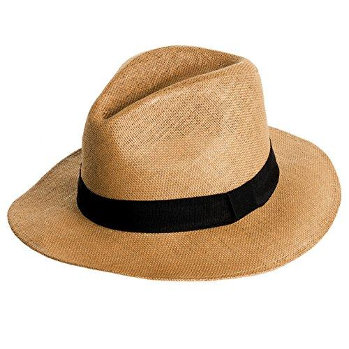 Hut mit breitem schwarzen Band / Panama Stil / weiche Krempe - viele Farben - HT010, Farbe:braun;Hutgröße:S/M - 58cm Kopfumfang (Michael Jackson Fedora Hut Schwarz)