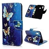 Kompatibel mit Huawei P Smart 2019 Hülle Leder Honor 10 Lite Flip CaseKunstleder Brief Wallet Schutzhülle Handyhülle Ständer Kartenfach Magnetisch Bookstyle Handyschale Blauer Schmetterling